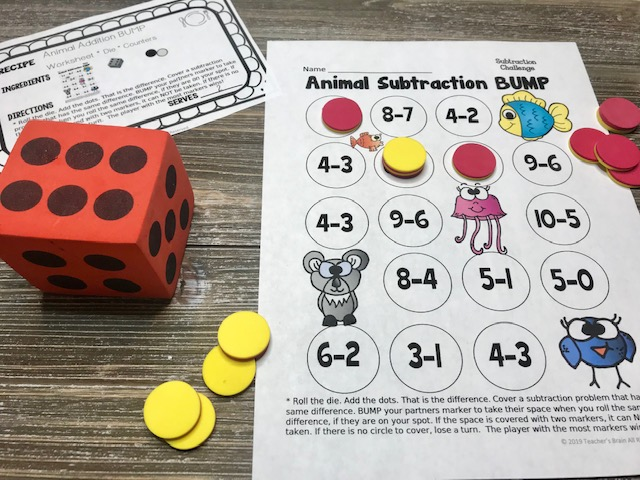 Kindergarten Subtraction Math Centers
