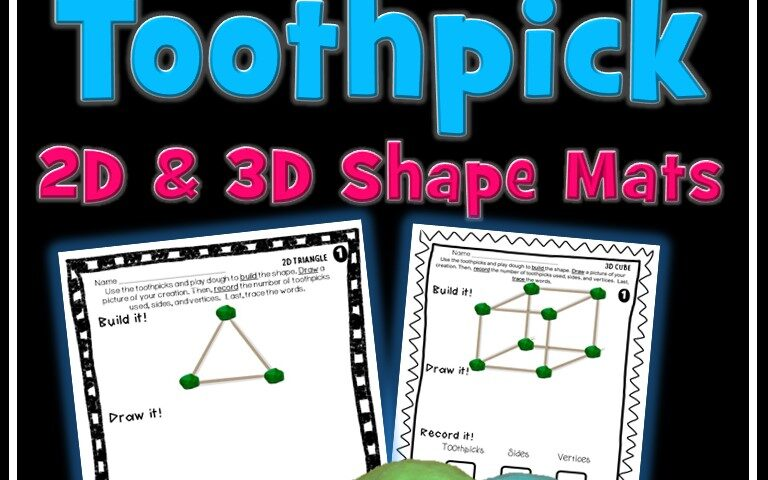 toothpick 2D and 3D shapes
